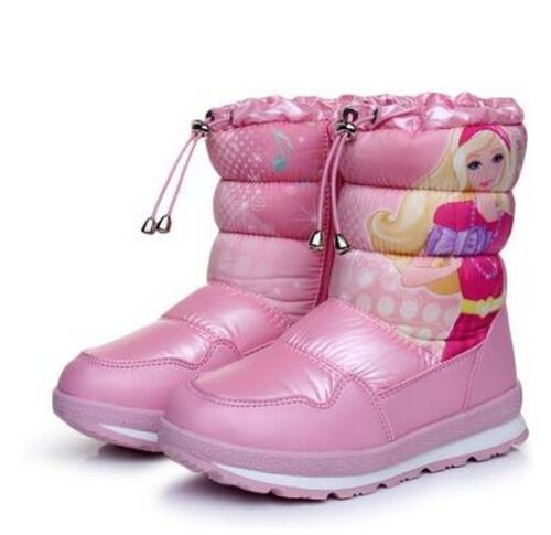Winter Warm Thick Wool Girl Boots Waterproof Non-Slip Snow Cotton Princess Shoes