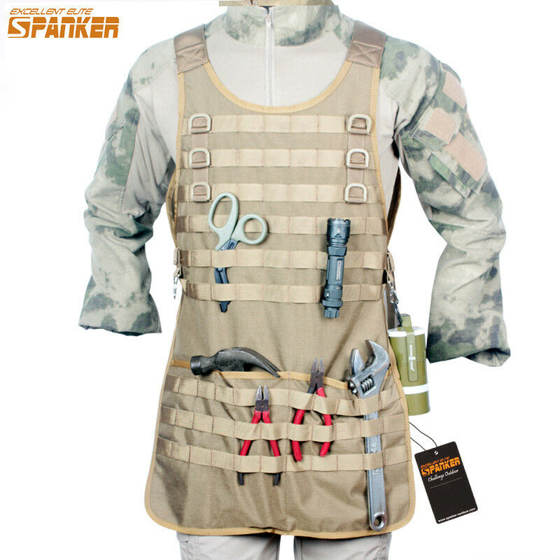 Tactical Bib Apron Multi-Use Molle System Work Panel Hang Tool Repair Holder