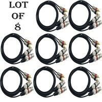 Lot Of (8) Pyle Pprcx05 Dual Audio Link Cable Xlr Female To Rca Male 5ft. Each