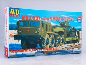 MAZ 537 + semitrailer CHMZAP-5247G Unassembled Kit AVD Models by SSM 1 43