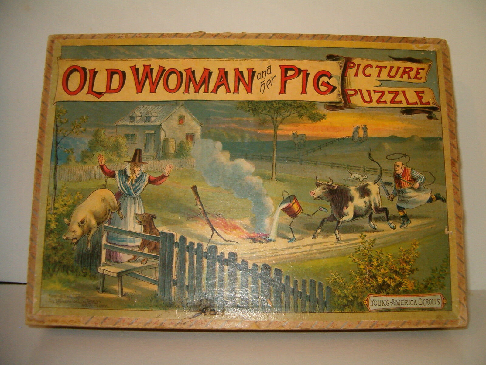 Old Woman Picture Puzzle   Mcloughlin Circa 1890's Farm Scene Ages 18+