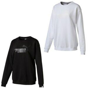 Details zu PUMA Pullover Damen Sweater Sweatshirt Rundhals schwarz weiss  Baumwolle weiss