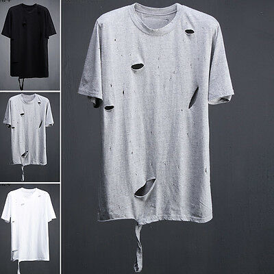 ByTheR Men's Fashion Vintage Damage Detail One Size Solid T-shirts P000BIED