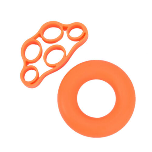 1set Silicone Hand Grip Strengthener Exercise Fitness Grip Finger Trainer RingMA