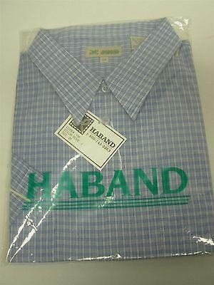 VINTAGE HABAND BLUE & WHITE CHECK SHORT SLEEVE DRESS SHIRT SIZE 20 ~3XL NOS MIP!