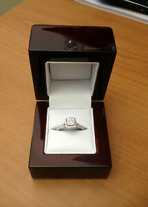 Cherry Wood Off White Leather Engagement Ring Box Great Quality
