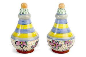 Mackenzie-Childs-TAYLOR-Majolica-Made-in-Aurora-SALT-amp-PEPPER-Shakers-MYRTLE-m19-2