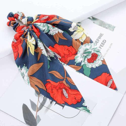 Women Scrunchies Elastic Hair Band Rope Floral Print Bow Ribbon Ponytail Holder