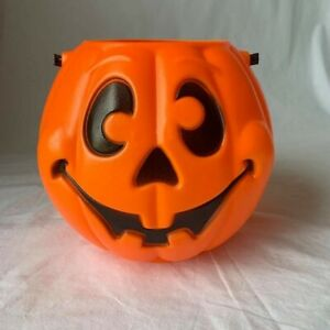 Vtg-Halloween-Pumpkin-Trick-or-Treat-Candy-Bucket-1997-Grand-Venture-Blow-Mold