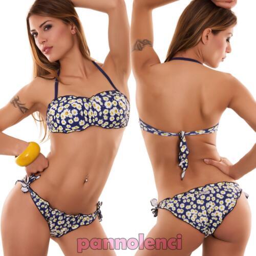 Bikini donna costume da bagno mare fascia STRASS due pezzi fiori nuovo SE565