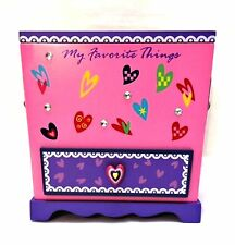 Jewelry Trinket Box My Favorite Things Little Girls Pink Purple 6.5 inches Tall