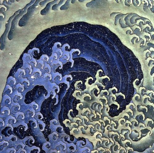 Ocean Waves Japanese Art 12 x 12 inch image on mono deluxe Needlepoint Canvas