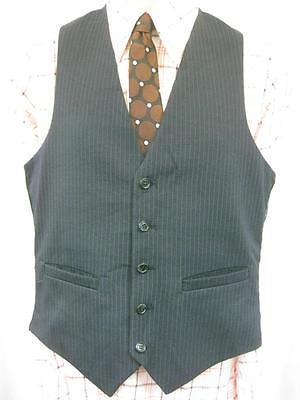 Di Larghe Vedute 36r S-vintage Anni'70 Da Uomo Navy Blu Gessato Gilet Suit Gilet Smart Mod-u5-mostra Il Titolo Originale