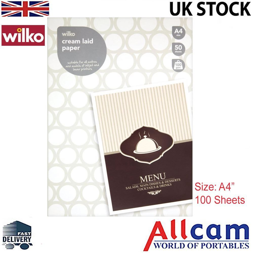 2 Pack: Wilko A4 Laid Paper Cream Sheets 100gsm Writing Paper 100 sheets, New