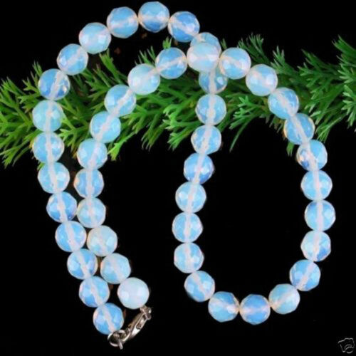 """10 mm opale rond à facettes Perles Collier Gemstone Strand 18/"""""""