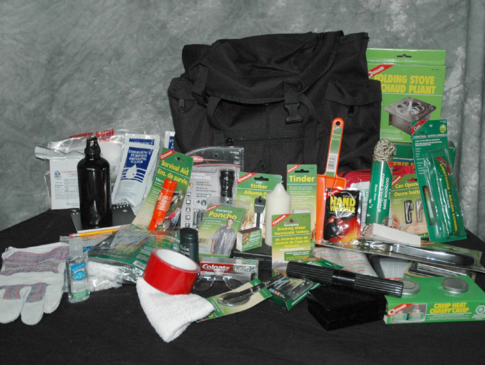 Survival kit 1 person luxe,72 hours emergency, water, food ration +53 items