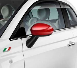 Fiat-500-Grande-Punto-Evo-Gloss-Miroir-Rouge-Caps-Covers-Paire-Authentique-71807485
