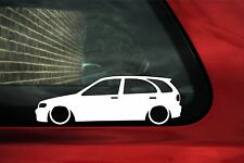 2x Low car outline stickers - for  Nissan Almera 5 door N15 hatchback lowered