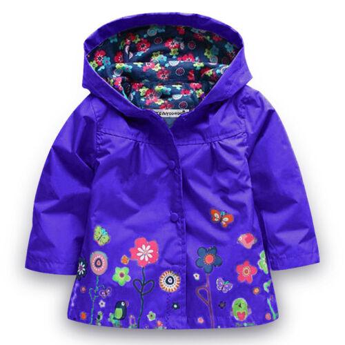 2-8Y Kids Boys Girls Lovely Windproof Hooded Hoodies Rain Coat Jacket Outerwear