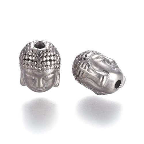 10pcs Stainless Steel Buddha Head Metal Beads Buddhist Tiny Loose Spacers 10.5mm