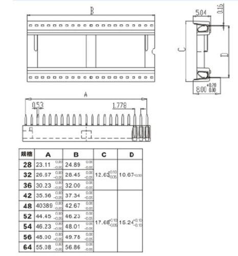 5Pcs Nouveau 1.778 mm pitch 52 pin DIP Solder Type Large IC Douille Adaptateur