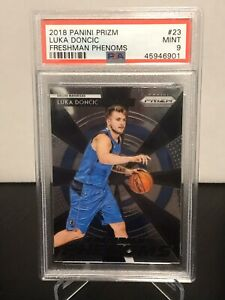 2018-Prizm-Luka-Doncic-RC-Freshman-Phenoms-23-Rookie-Mavericks-PSA-Mint-9