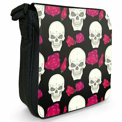 Skull Cross Bones and Red Flowers Small Black Canvas Shoulder Bag