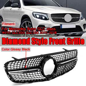 Diamond-Front-Grille-Grill-For-Mercedes-Benz-GLC-W-X253-GLC300-GLC350-2015-2019