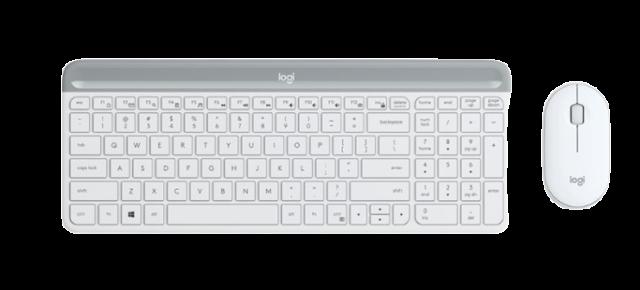 Logitech Slim Wireless USB RF Keyboard and Mouse Combo MK470 1000 dpi White