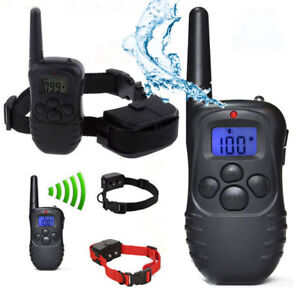 Waterproof 1000 Yard 2 Dog Shock Training Collar Pet Trainer with Remote Battery
