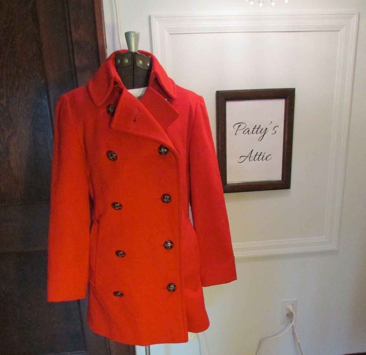 Vintage Red Double Breasted Coat Women's Small Good Condition