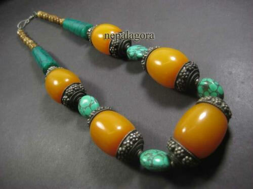 N4559 TIBETAN FASHION Gypsy tribal Amber style bone Runway handmade Necklace