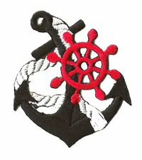 Ecusson patche Marine Navy Ancre thermocollant patch marin bateau brodé