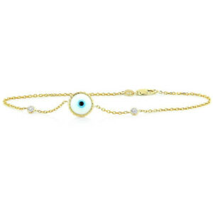 3710b8ca4de84 Details about Handmade 14K Yellow Gold Evil Eye Bracelet With Diamonds -  White 7.5 Inches