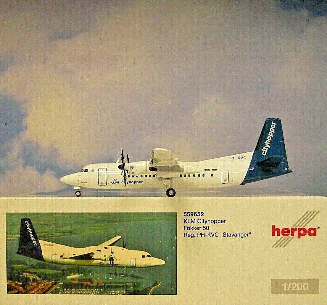 Herpa  Wings 1 200 Fokker 50 KLM Cityhopper PH KVC 559652  achats en ligne de sport