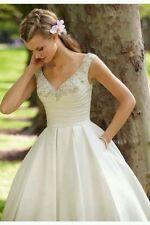UK Vintage Tea Length White/Ivory Lace Wedding Dress Size 6-18