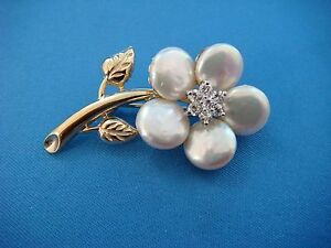 ! MAGNIFICENT 14K PEARL AND DIAMONDS VINTAGE FLOWER BROOCH, 10 GRAMS, 1.7 INCHES
