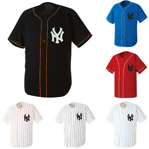 brand new d93d2 4480d Details about NewYork NY Yankees Baseball Stripe Jersey Open Tshirts Sports  Wear Top Shirt New