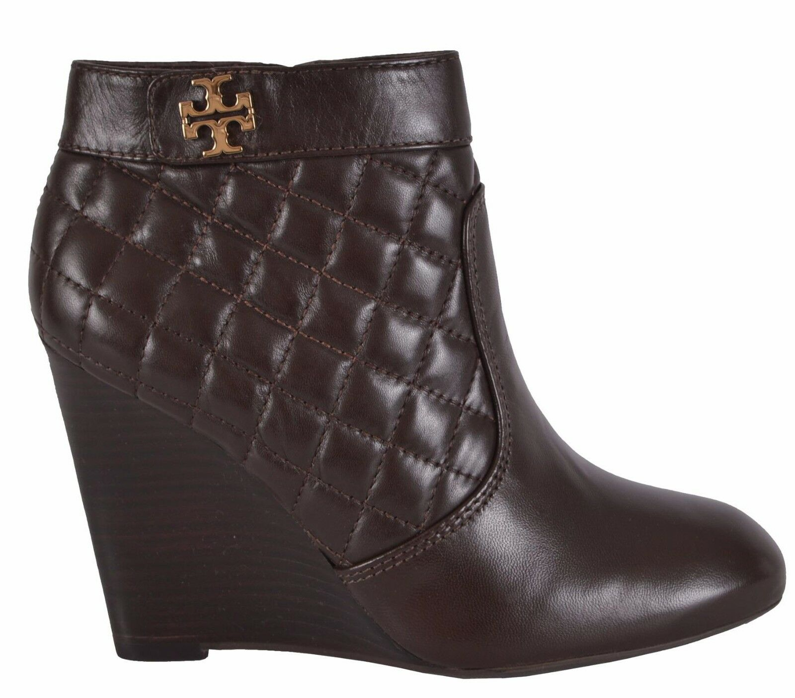 NEW Tory Burch Women's Leila Brown Quilted Leather Wedge Ankle Boots shoes 8