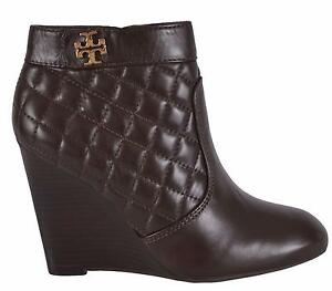 bdf8e08c9d34 NEW Tory Burch Women s Leila Brown Quilted Leather Wedge Ankle Boots ...