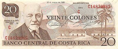 Costa Rica 20 Colones 18.3.1980 Series C 14 Uncirculated Banknote Lb22 Invigorating Blood Circulation And Stopping Pains North & Central America Coins & Paper Money