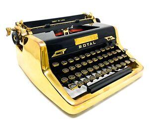 "Rare GOLD PLATED ""James Bond"" Royal Quiet De Luxe Portable Typewriter 1953"