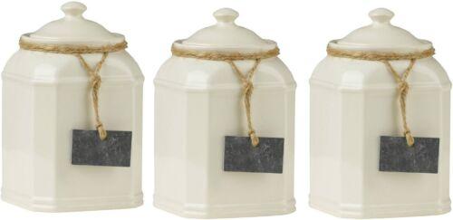 Tea Coffee and Sugar Storage Jars Cream Dolomite With Slate Tag Brand New