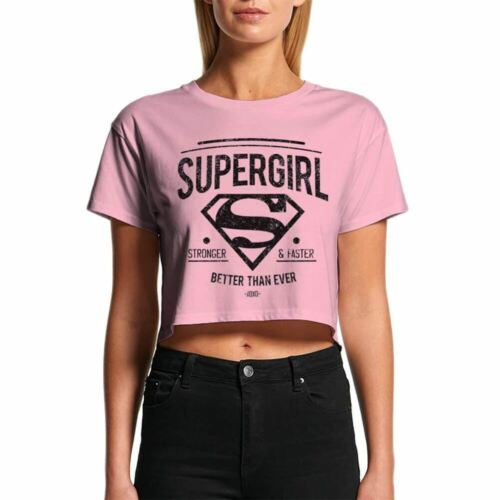 Womens Supergirl Stronger Faster Cropped Pink T-Shirt Retro DC Comics Top