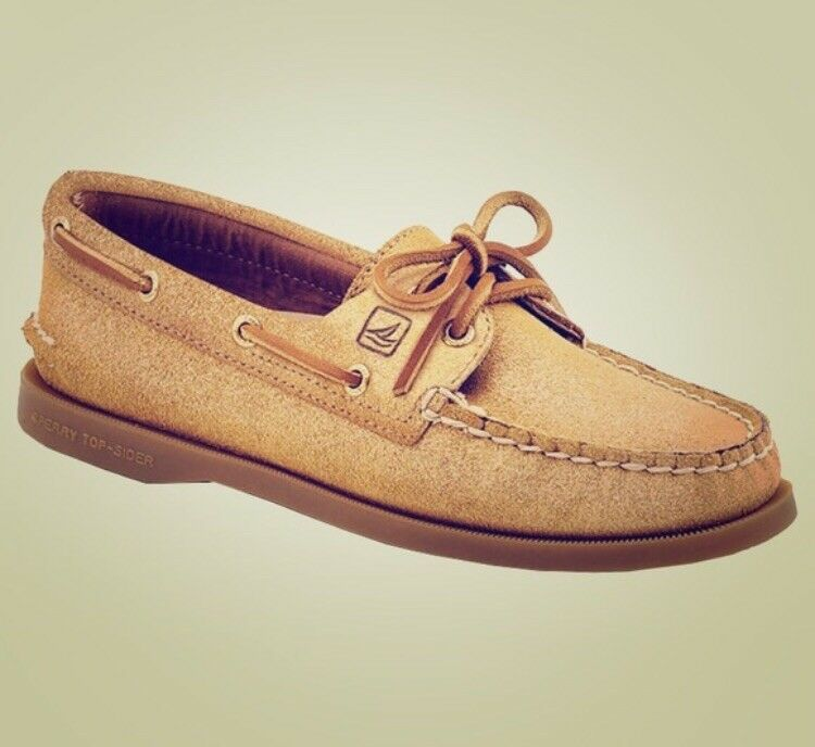 Sperry Topsider gold Suede Boat shoes, Women's Size 5