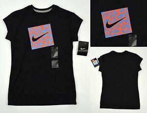l Manga m Negro Nike Nwt Corta Lindo Camiseta Detalles Niña Animal De Leopardo Swoosh ~ S jc5A34RLq