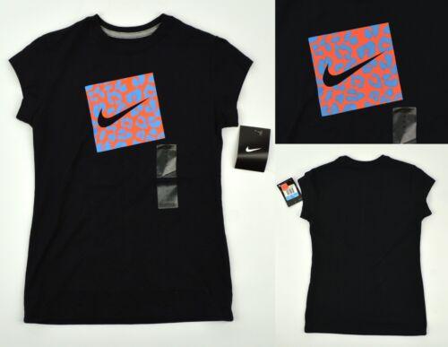 NWT NIKE Girls Cute Black Leopard Animal SWOOSH Short Sleeve Tee T-Shirt ~ S,M,L