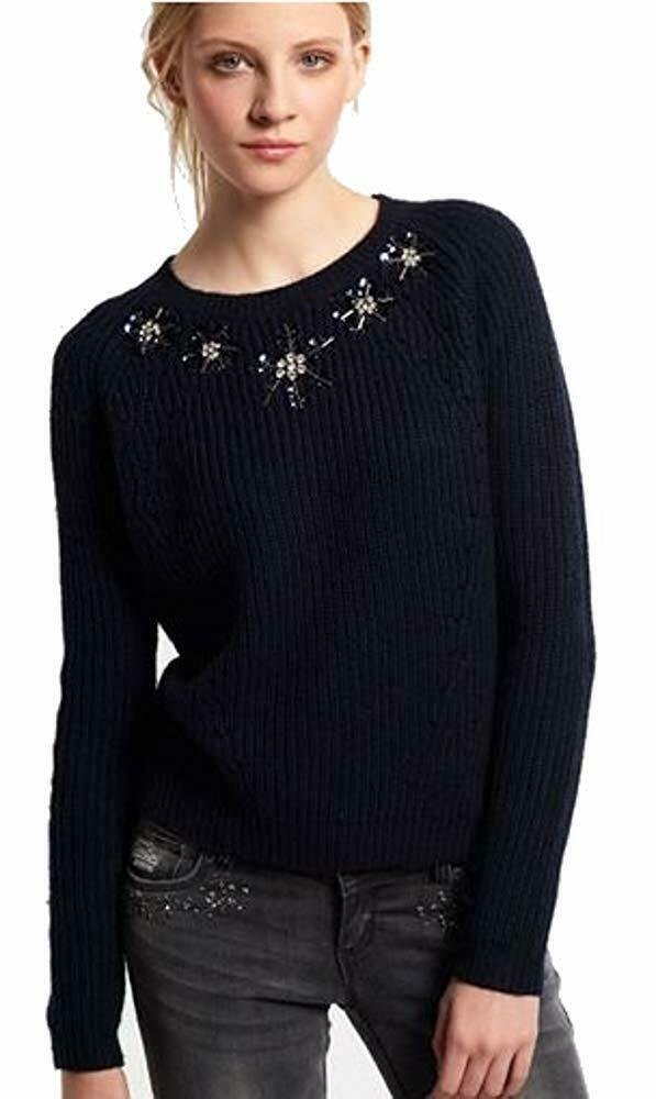 Superdry Womens New Petal Crew Knit Jumper Navy Size X-Small RRP .99