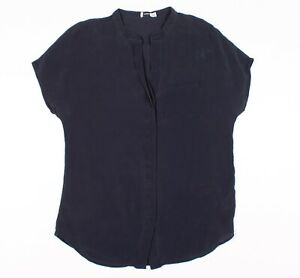 Womens Vince Navy Blue Silk Cap Sleeve Popover Blouse Top Size S Small