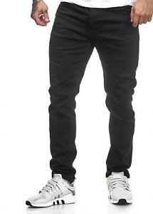 JEANS-Uomo-Biker-Jeans-Pantaloni-Nero-Basic-Denim-Uomini-Jeans-slim-fit-John-Kayna